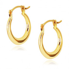 Zlaté 9K náušnice - lesklé kruhy, francúzsky zámok