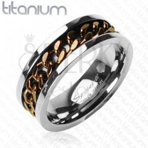 Titánový prsteň - medená reťaz