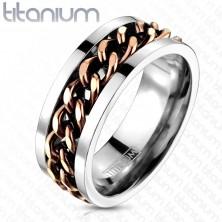 Titánový prsteň striebornej farby - reťaz v medenom farebnom odtieni
