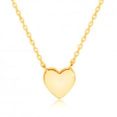 Zlatý náhrdelník 14K - ploché srdiečko, kolmé očká oválneho tvaru
