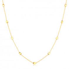 Náhrdelník v 14K žltom zlate - jemná retiazka s lesklými kockami