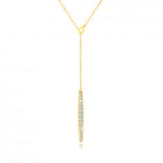 Zlatý 14k náhrdelník - lodička vykladaná čírymi zirkónikmi