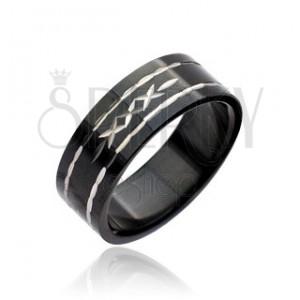 Čierny prsteň z ocele - vyryté krížiky