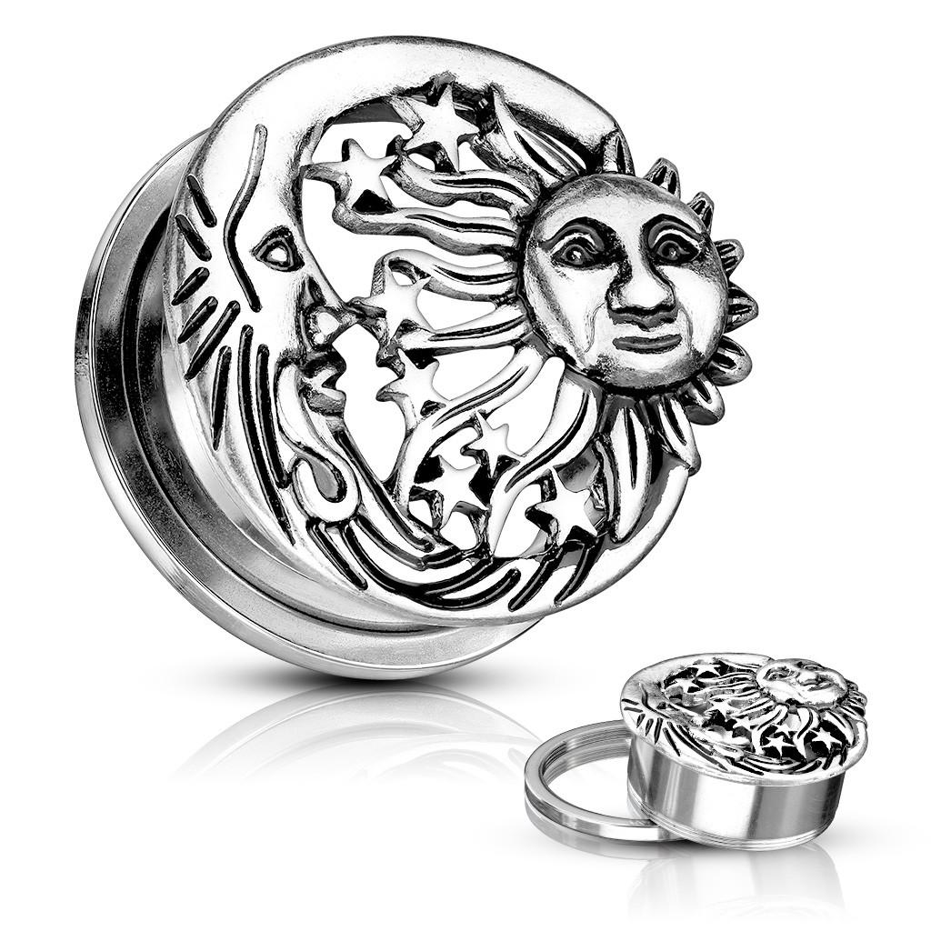 Patinovaný plug do ucha z ocele - slnko, tri hviezdy a mesiac  - Hrúbka: 14 mm