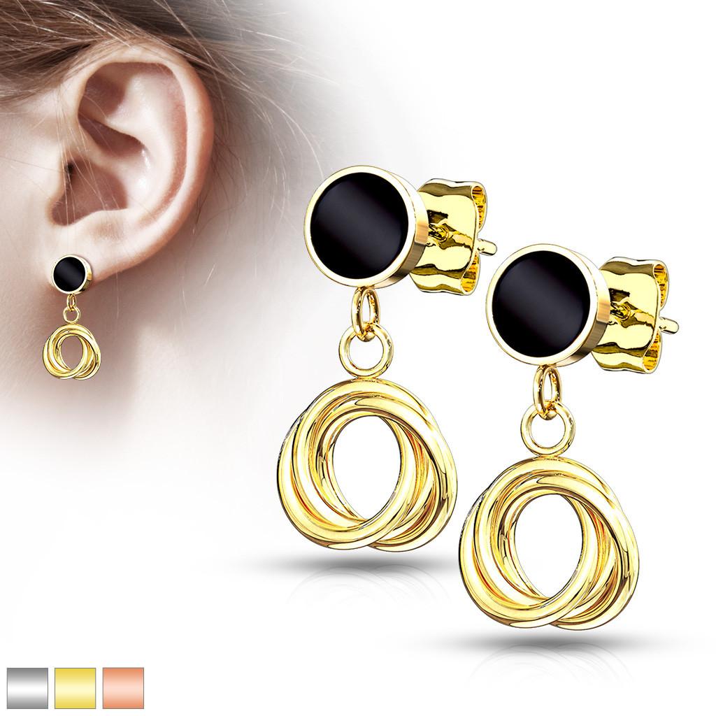 Puzetové náušnice z ocele - objímka zaliata čiernou glazúrou, pletenec - Farba piercing: Zlatá