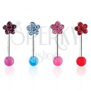 Piercing do obočia Flower on UV Ball