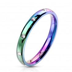 Prsteň z ocele v dúhovom odtieni - okrúhle zirkóniky čírej farby, 3 mm