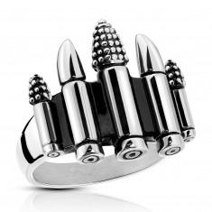 Patinovaný oceľový prsteň striebornej farby - päť nábojov, 4 mm