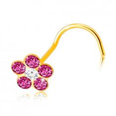 Piercing v žltom 9K zlate so zahnutým koncom - ružový kvietok, číry zirkón