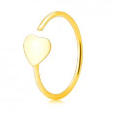 Piercing v žltom 14K zlate - kontúra krúžku ukončená plochým srdiečkom