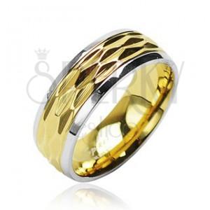 Oceľový prsteň - zvlnený motív zlatej farby