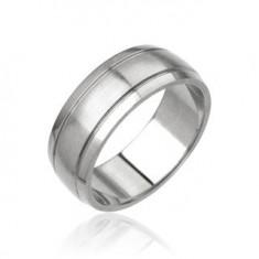 Šperky eshop - Pánsky prsteň z ocele - matný stredový pás H16.7/8/9 - Veľkosť: 60 mm