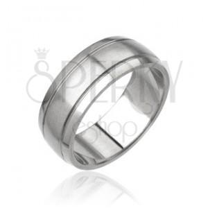 Pánsky prsteň z ocele - matný stredový pás