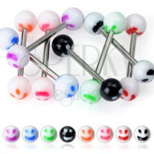 Piercing do jazyka - farebný smajlík