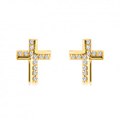 Zlaté náušnice z 9K zlata - krížik zdobený trblietavými zirkónikmi, lesklý povrch