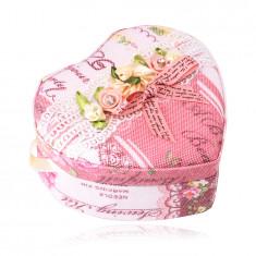 Látková šperkovnica - tvar srdca, kvetovaný vzor, ozdobná mašlička