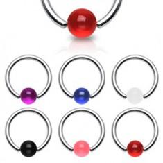 Piercing - krúžok, farebná UV gulička