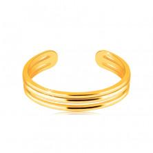 Prsteň zo žltého zlata 585 s otvorenými ramenami - tri tenké hladké prúžky