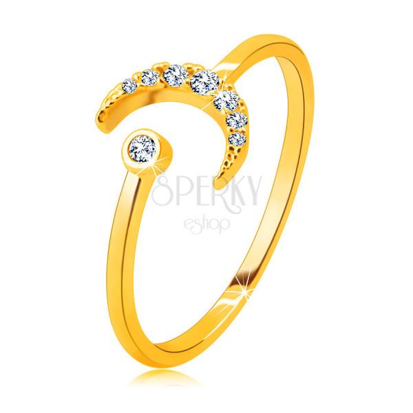 Prsteň zo 14K zlata - mesiac zdobený zirkónmi, okrúhly zirkón v objímke, otvorené ramená