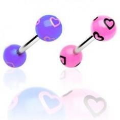 Šperky eshop - Piercing do jazyka - kreslené srdiečka N33.11 - Farba piercing: Čierna - Ružová