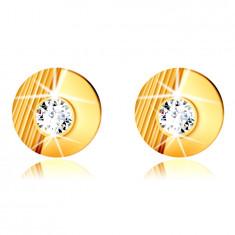 Zlaté 14K náušnice - krúžok so zárezmi, hladký polkruh, vsadený okrúhly zirkón, puzetky