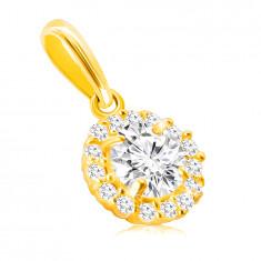 Prívesok zo 14K zlata - veľký okrúhly zirkón v kotlíku s transparentným lemom zo zirkónikov