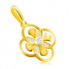 Prívesok zo 14K zlata - kvet s kombinovanými lupeňmi, zirkón v objímke