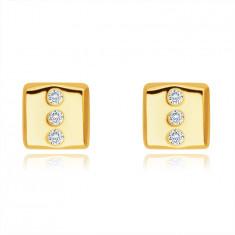 Zlaté 14K náušnice - obdĺžnik s tromi okrúhlymi čírymi zirkónmi, puzetky