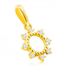 Zlatý 14K prívesok - krúžok s tenkými tyčinkami, trblietavé okrúhle zirkóniky
