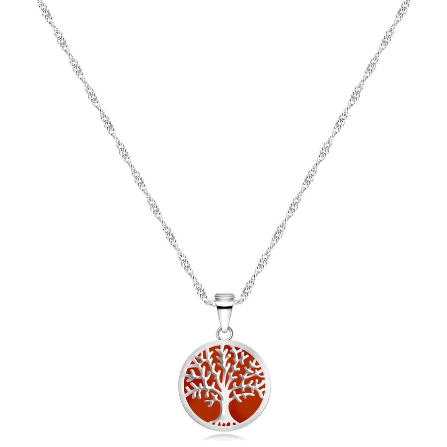 Strieborný 925 náhrdelník - prívesok v tvare kruhu, strom života, červený podklad