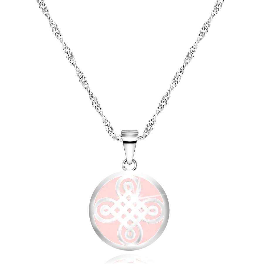 Strieborný 925 náhrdelník - prívesok v tvare kruhu, keltský motív, ružový podklad