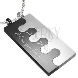 Oceľový Puzzle prívesok, strieborno-čierna farba