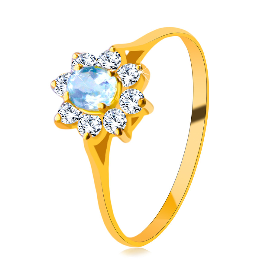 Prsteň zo 14K žltého zlata - oválny topás, línia lupeňov kvetu, okrúhle zirkóny  - Veľkosť: 51 mm
