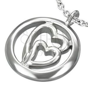 Prívesok z ocele - dve srdcia v kruhu