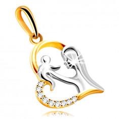 Diamantový prívesok z kombinovaného 14K zlata - srdce s matkou a dieťaťom, brilianty