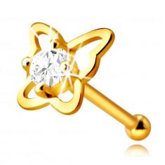 Diamantový piercing do nosa zo 14K žltého zlata - kontúra motýľa s briliantom, 2,0 mm