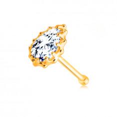 Diamantový piercing do nosa z 9K žltého zlata - briliantová slzička, obruba so zárezmi