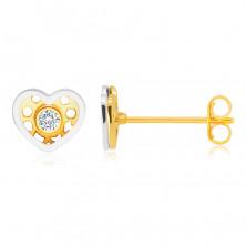 Diamantové náušnice v kombinovanom 14K zlate - srdiečko, okrúhly číry briliant