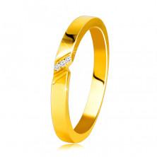 Diamantová obrúčka v 14K žltom zlate - prsteň s jemným zárezom, číre brilianty