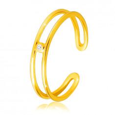 Diamantový prsteň zo žltého 14K zlata - tenké otvorené ramená, číry briliant