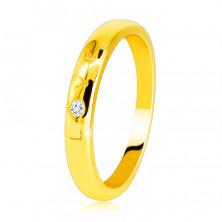 """Diamantová obrúčka v žltom 585 zlate - nápis """"LOVE"""" s briliantom, hladký povrch, 1,6 mm"""