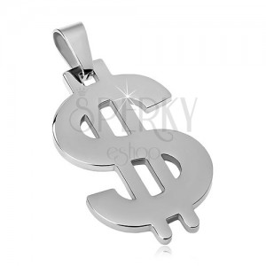 Prívesok z ocele 316L striebornej farby, symbol dolára