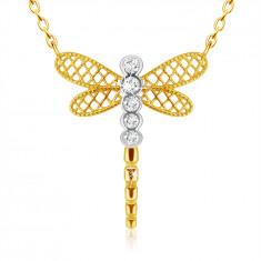 Diamantový prívesok z kombinovaného 585 zlata - vážka s krídlami, číre brilianty