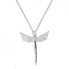 Strieborný 925 náhrdelník - postava anjela, krídla vykladané čírymi zirkónmi