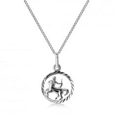 Strieborný 925 náhrdelník - retiazka a znamenie STRELEC