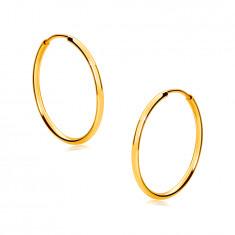 Zlaté okrúhle náušnice v 14K zlate - tenké zaoblené ramená, lesklý povrch, 17 mm