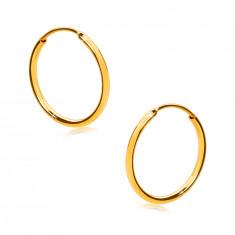 Náušnice v žltom 585 zlate - jemné krúžky, lesklý zaoblený povrch, 12 mm