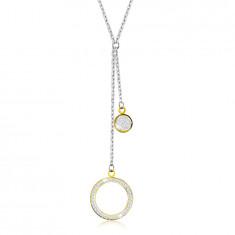 Oceľový náhrdelník - veľký obrys kruhu s kryštálikmi, plochý krúžok, prívesky v zlatej farbe