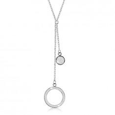 Oceľový náhrdelník - veľký obrys kruhu s kryštálikmi, plochý krúžok, prívesky v striebornej farbe