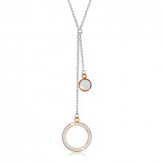 Oceľový náhrdelník - veľký obrys kruhu s kryštálikmi, plochý krúžok, prívesky v medenej farbe